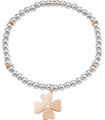 bracciale quadrifoglio in acciaio bicolore e cristalli per donna