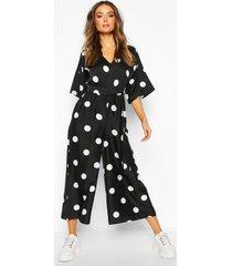 oversized polka dot kimono sleeve culotte jumpsuit, black