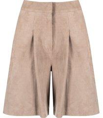 arma wide-leg leather shorts - neutrals