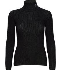 rib roll neck with ck turtleneck coltrui zwart calvin klein jeans