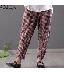 zanzea pantalones de lápiz de algodón a cuadros sueltos para mujer pantalones de cintura alta de talla grande -rojo
