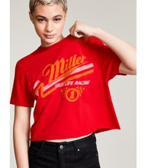 junk food cotton miller racing-graphic cropped t-shirt
