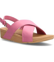 lulu cross back-strap sandals - leather shoes summer shoes flat sandals rosa fitflop