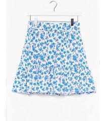 womens blue floral ruffle hem mini skirt - white
