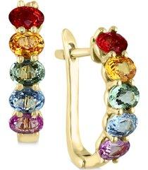 effy multicolor sapphire hoop earrings (2-1/8 ct. t.w.) in 14k gold
