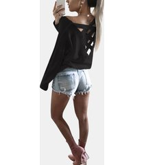 cutout round neck backless hollow details t-shirts in black