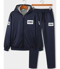 koyye traje deportivo de letras lisas con capucha y cálido para hombre