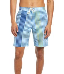 tommy bahama baja king of gingham classic fit swim trunks, size small in fountain blue at nordstrom