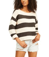 billabong paradise stripe sweater, size large in off black at nordstrom