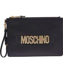 moschino logo plaque embellished clutch