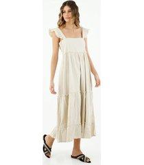 vestido de mujer, diseño midi, cuello cuadrado de tiras con boleros, color crudo