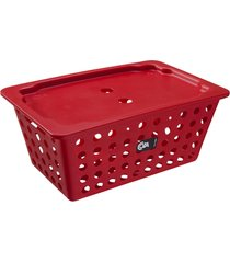 cesta coza grande com tampa vermelha
