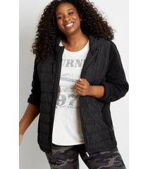 maurices plus size womens black quilted front sherpa sleeve hooded jacket