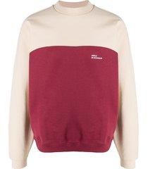 drôle de monsieur contrast panel sweatshirt - red