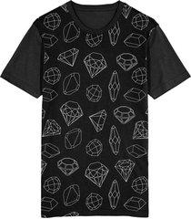 camiseta migian diamantes sublimada preto - preto - dafiti