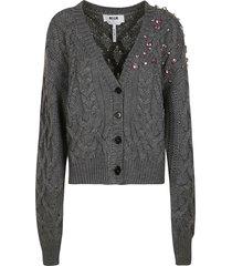 msgm crystal embellished woven cardigan
