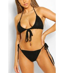 knitted crochet triangle tie sunset bikini, black