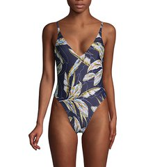 leaf-print one-piece swimsuit