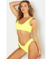 mix & match gekreukeld hoog uitgesneden bikini broekje, yellow