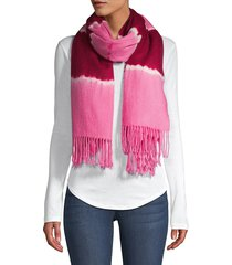 charlotte simone women's betty tie-dyed wool scarf - pink