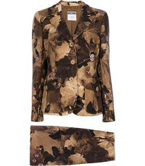 moschino pre-owned leaf print skirt suit - brown