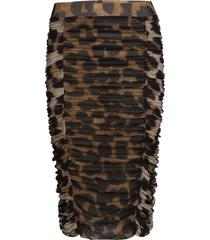 printed mesh rok knielengte bruin ganni