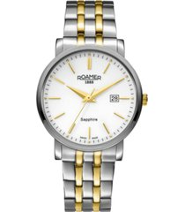 roamer men's 3 hands date 40 mm dress watch in two tone steel case and bracelet