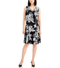 jm collection petite embellished printed a-line dress, created for macy's