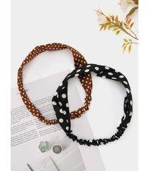 accesorios para el cabello con diadema fruncida con lunares negros