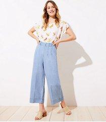 loft high waist wide leg crop jeans in light indigo wash