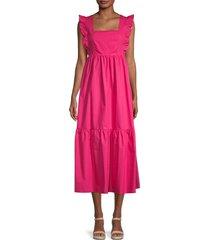 caara women's passion midi dress - magenta - size s