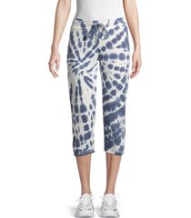 marc new york performance women's tie-dye cropped drawstring pants - vintage denim - size xl