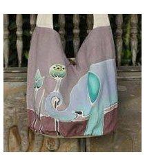 cotton batik shoulder bag, 'gentle elephant' (thailand)