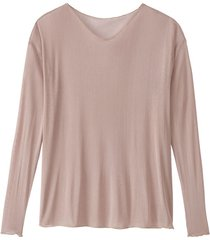licht transparent shirt met lange mouwen uit bio-zijde met v-hals, poeder 46