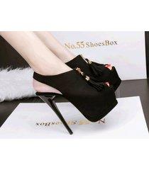 ps351 cutie slingbacks sandals w fringe, high heels,us size 4-8.5, black