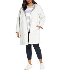plus size women's eileen fisher reversible hooded jacket, size 3x - white