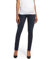 women's paige transcend - skyline skinny maternity jeans, size 28 - blue