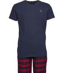 pj set flannel pants/logo t g.box pyjama blauw gant