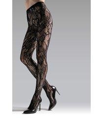 natori lace cut-out net tights, women's, black, size xl natori