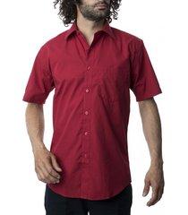 camisa lisa cuello semi italiano rojo kotting