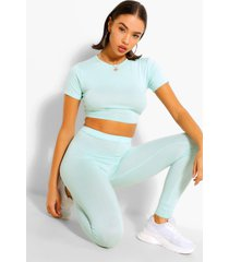 basic cap sleeve top and leggings co-ord set, mint