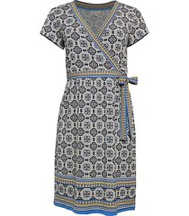 print short-sleeve wrap dress