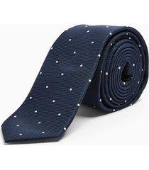 mens navy and white polka dot tie
