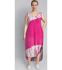 lane bryant women's livi tie-dye maxi dress with crossover back detail 14/16 magenta cosmo