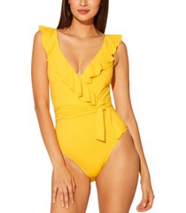 bleu by rod beattie ruffled surplice one-piece swimsuit women's swimsuit