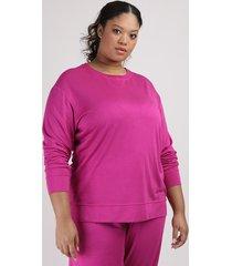 blusão de moletom feminino plus size mindset decote redondo roxo