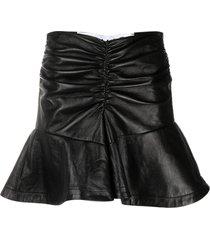almaz peplum hem leather skirt - black