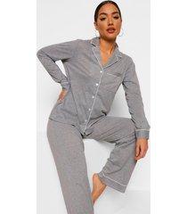 jersey shirt met lange mouwen en broek met knopen pyjama set, grey