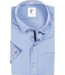 r2 shirt korte mouwen blauw geprint