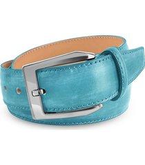 pakerson designer men's belts, men's sky blue hand painted italian leather belt